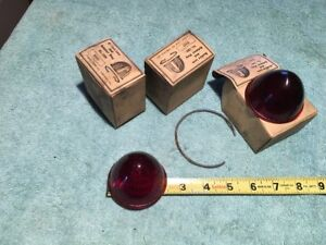 4 Vintage Glass Red Rat Rod Tail Light Lamp Lens Cover Brake Marker Truck Car 1