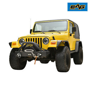 Eag 87 06 Jeep Wrangler Tj Yj Front Bumper With Winch Plate D Ring