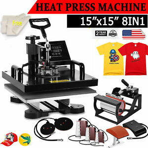 8in1 Combo T shirt Heat Press Transfer 15 x15 Mug Plate Machine Multifunctional