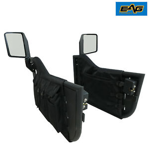 97 06 Jeep Wrangler Tj Pocket Tubular Doors Off Road Blk With Side View Mirrors