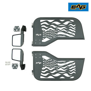 For 1997 2006 Jeep Wrangler Tj Us Flag Tube 2 Doors Body Armor With Side Mirrors