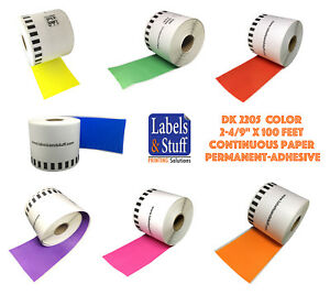 Lot 1 12 Dk 2205 Color Labels Brother compatible Continuous Option Cartridge
