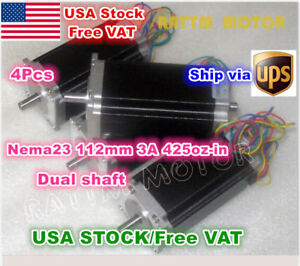 usa nema23 112mm Dual Shaft 425oz in Cnc Stepper Motor 3a 3d Printer Cnc Router