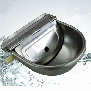 1pc Stainless Water Bowl Trough Auto Filling Drinking Float Equine Cattle Dog