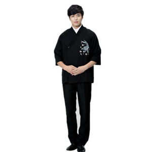 Mens Restaurant Sushi Black Schef Jacket Coat Uniform With Embroidery Pattern