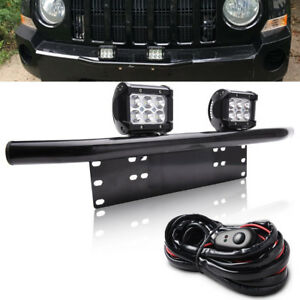 Fit Ford Ranger Explorer Escape Bull Bar License Bumper 18w Led Light Mount Kit