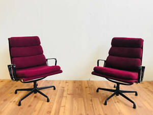 Herman Miller Eames Aluminum Group Chairs Burgundy Set Of 4