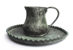 1700 S Antique Persian Tinned Copper Plate With A Big Cup Washing Hands Tools