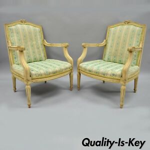 Pair Of Vintage French Louis Xvi Provincial Style Cream Painted Arm Chairs