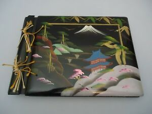 Vintage Japanese Lacquerware Photo Postcard Album Painted Mountains Pagoda Trees