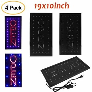 4pcs Bright Led Neon Light 19x10 animated Motion Open Business Sign W On off To