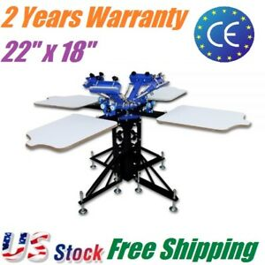 Us 4 Color 4 Station Silk Screen Printing Machine Printing Press For T shirt