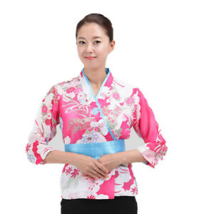 Japanese Pink Sushi Chef Coat With Flower Pattern For Women Restaurant Uniform