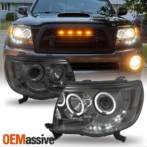 Fits 05 11 Toyota Tacoma Pickup Smoke Dual Halo Projector Led Headlights L r