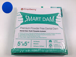 Cranberry Dental Latex Dam Natural Rubber Tooth Template Blue Child Adult 1box