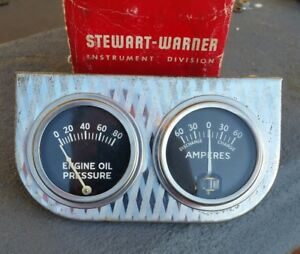 Vintage Stewart Warner Amp And Oil Gauge Diamond Cut Coffin Needle Rat Hot Rod