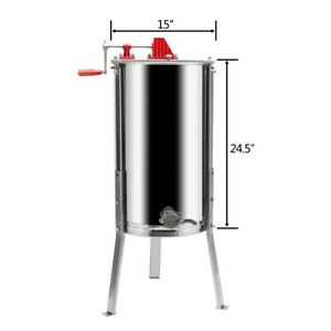 Stainless Steel 3 Frame Honey Extractor Manual Beekeeping Equipment Us Ship