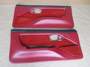 88 90 Firebird Gta Trans Am Dlxe Door Panels Red Cloth Pm Pw Lh Rh Pair 0320 7