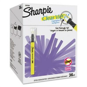 Clear View Highlighter Stick Office Pack Chisel Tip Assorted 36 pk