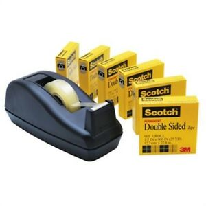 665 Double sided Permanent Tape With C40 Dispenser 1 2 X 900 Clear 6 pack
