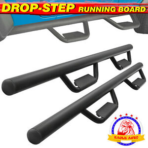 For 07 18 Jeep Wrangler 4 Door 3 Running Boards Nerf Bar Side Step Black B