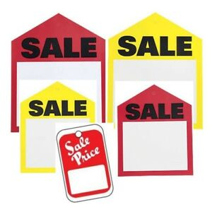 All Purpose Red White Yellow Sale Price Unstrung Coupon Retail Merchandise Tags