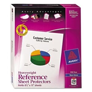 Top load Poly Sheet Protectors Heavyweight Letter Nonglare 200 box