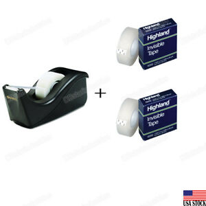 3m Scotch Value Desktop Tape Dispenser With 2 Highland 3 4 Invisible Tapes Set