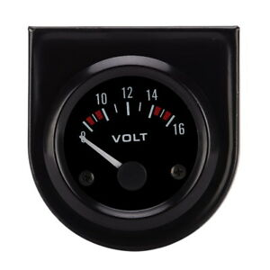 1x Black Face 52mm 8 16v Voltmeter Volt Voltage Gauge Meter Led Boat Auto Car