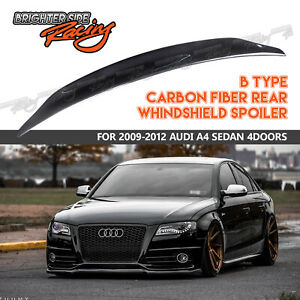 For 09 12 Audi A4 B8 4dr Cat Style Real Carbon Fiber Rear Trunk Spoiler Duck Lip