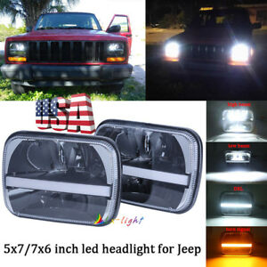 Pair 5x7 7x6 Led Headlights W Drl Turn Signal For Jeep Wrangler Yj Cherokee Xj
