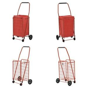 Shopping Grocery Cart Folding Heavy Duty With Wheels Rolling 4 Wheel Trolley