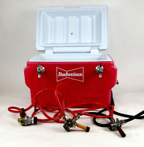 Rubbermaid Beer Budweiser Jockey Box Tap Keg Double Faucet Draw 50 Cooler
