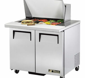 True Tssu 36 12mb Mega top Sandwich salad Prep Table For 12 Pans Two Door 36