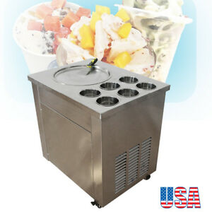 New Fried Ice Cream Roll Machine Flat Pan For Fruit ice milk yogurt W 6 Buckets