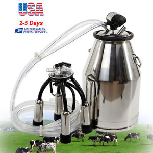 25l Milker Bucket Tank Milking Barrel With L80 Pulsator For Farm Cows usa Ship