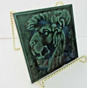 Hamilton Tile Works Art Pottery Tile In Relief Victorian Lion Green Blue Gloss