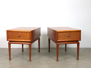 Pair Unique Vintage Mid Century Modern Single Drawer End Side Tables Nightstands