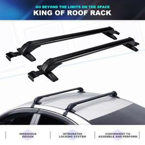 Car Universal Aluminum Roof Top Rack Cross Bar Cargo Bike Carrier W Lock System