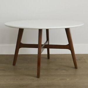 Roundabout Stylish Mid Century Coffee Table With Solid Wood Legs White Top