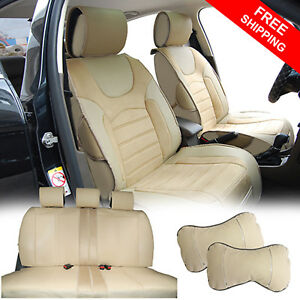 Full 7 Car Seats Cushion Pu Leather W Suede 2 Pillows For Honda Pilot 2088 Tan
