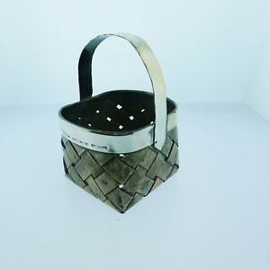 Vintage Cartier Hand Made Sterling Silver Basket Weave Jewelry Holder