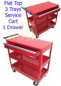 3 Trays Flat Top Utility Tool Service Cart Mig Tig Weld