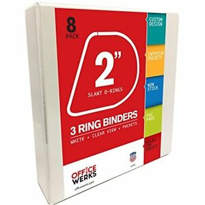 3 Ring Binders 2 Inch Slant d Rings White Clear View Pockets 8 Pack