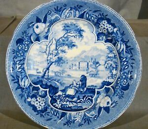 Antique Staffordshire Early Earthenware Blue Pearlware Plate 1825 1840