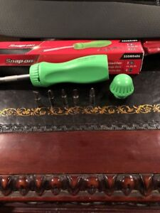 New Snap On Lime Green Ratcheting Screwdriver With 5 Bits Ssdmr4bg
