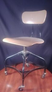 Vintage Toledo Industrial Drafting Swivel Chair Stool Casters Mid Century