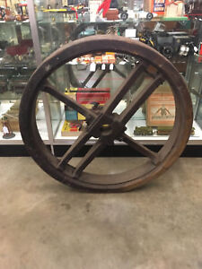 Large 46 Antique Industrial Factory 2 Piece Wood Flat Belt Split Pulley Wheel