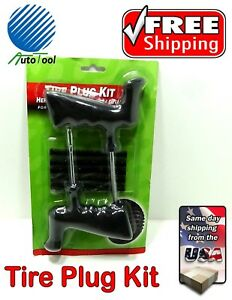 Tire Repair Emergency Kit 7 Pc Set Plug Patch Flat Tubeless Car Truck Motorcycle