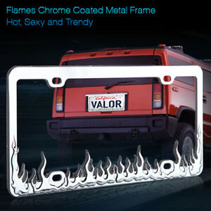 New Fire Flame Silver Chrome Coated Metal License Plate Frame Cover 1 Piece